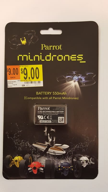 Parrot mini drone spare battery $9 (NOW ONLY $4.50) ymmv walmart clearance b&m