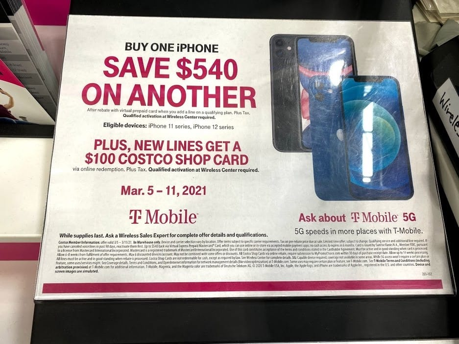 Costco T-mobile Existing Customers - 2 iphone 11 Pro - $580 plus tax, No trade-in required, add line, BOGO - Get $540 GC plus $100 costco GC