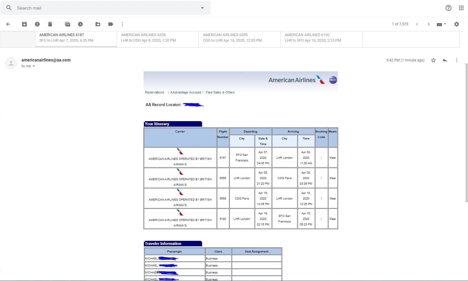 American Airlines and British Airways BUSINESS CLASS to Paris and London $1500
