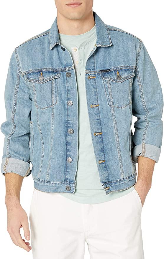 Calvin Klein Men's Denim-Trucker Jacket, Light Wash $30