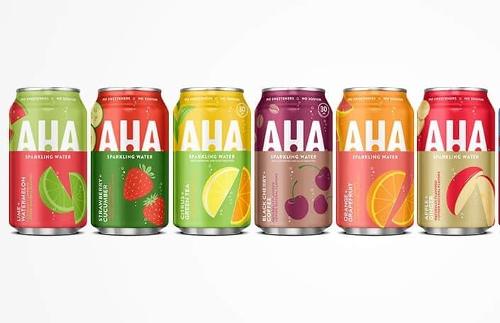 AHA sparkling water 8 pack 12 oz for $2