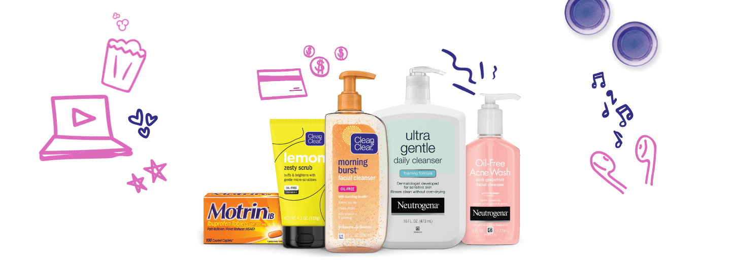 Buy 3 Clean & Clear, Neutrogena or Motrin products and get $5 gift card + $10 rebate