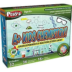 Playz STEM A+ Kids Chemistry Junior Experiments & Reactions Science Lab Kit - 32+ Experiments, 36 Page Laboratory Guide, and 27+ Tools & Ingredients for Boys, Girls $34.95