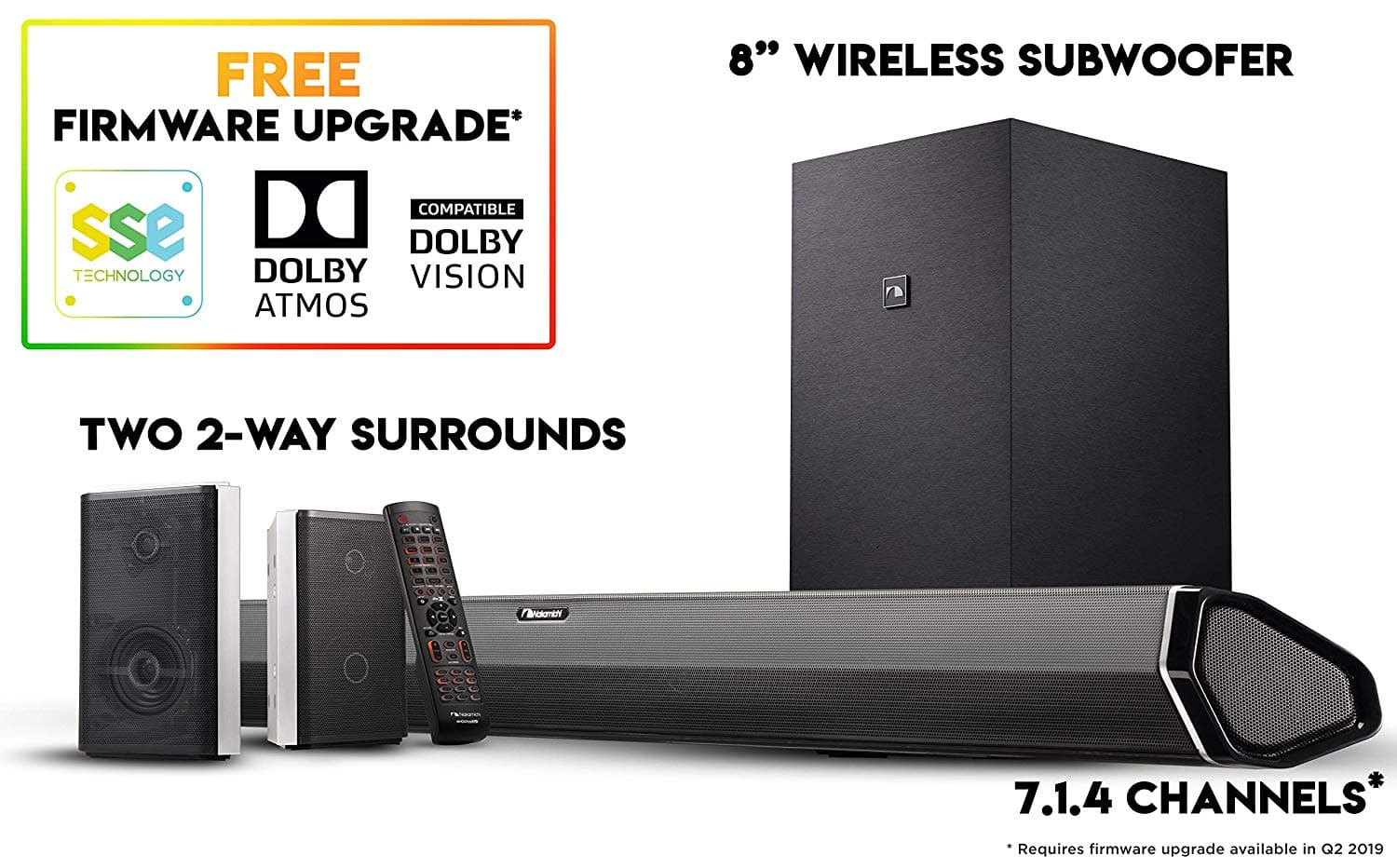 """Nakamichi Shockwafe Pro 7.1Ch DTS:X 600W 45-Inch Sound Bar with 8"""" Subwoofer (Wireless) & 2-Way Rear Surround Speakers $547.99"""