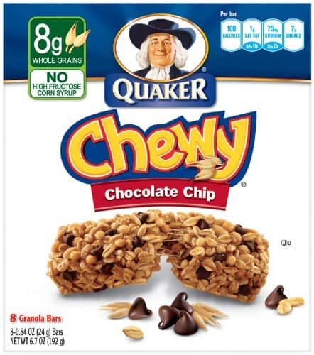 96 Bars of Quaker Chewy Granola Bar, Chocolate Chip for $13.67 from Amazon