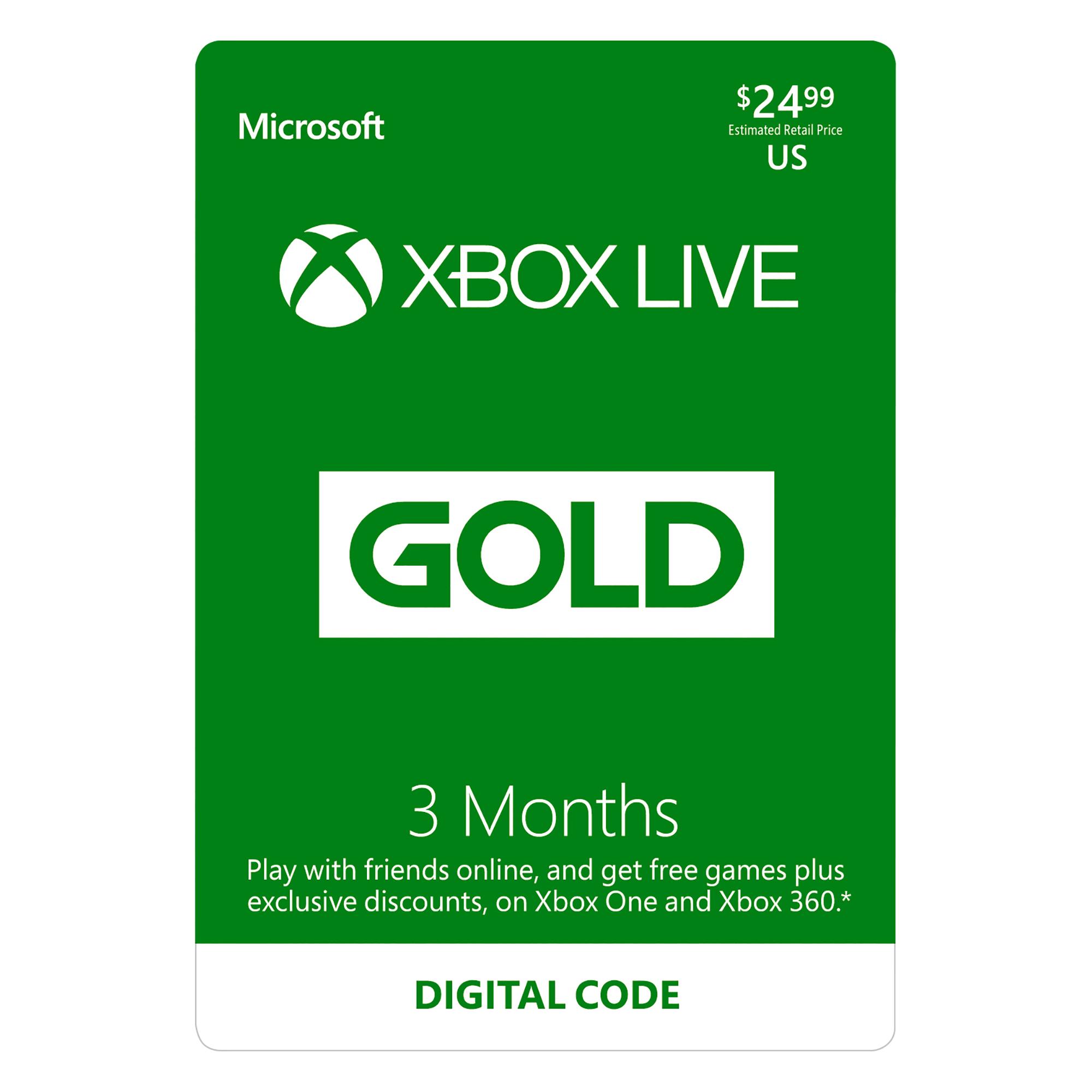 3 Month XBox Live Gold $10 Family Dollar B&M