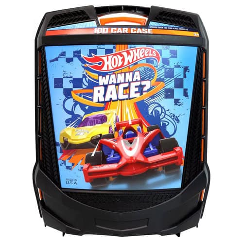 Hot Wheels 100-Car, Rolling Storage Case with Retractable Handle - $12.07 with prime shipping