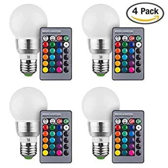 4-Pack RGB Color Changing LED Bulbs + Remote Control For $17.99 AC @ Amazon