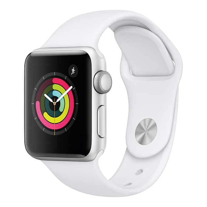 Apple Watch Series 3 GPS White Sport Band 38mm (Silver) for $230 at Costco