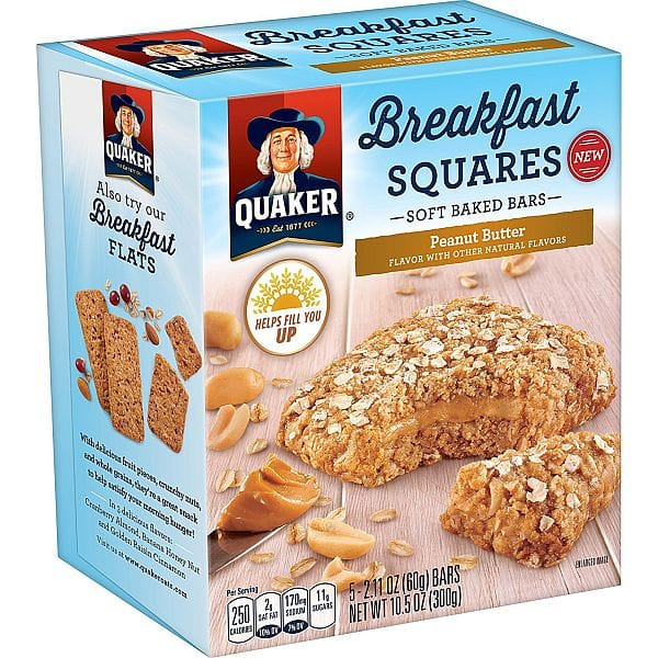 40-Ct Quaker Breakfast Squares, Soft Baked Bars, Peanut Butter $14.68