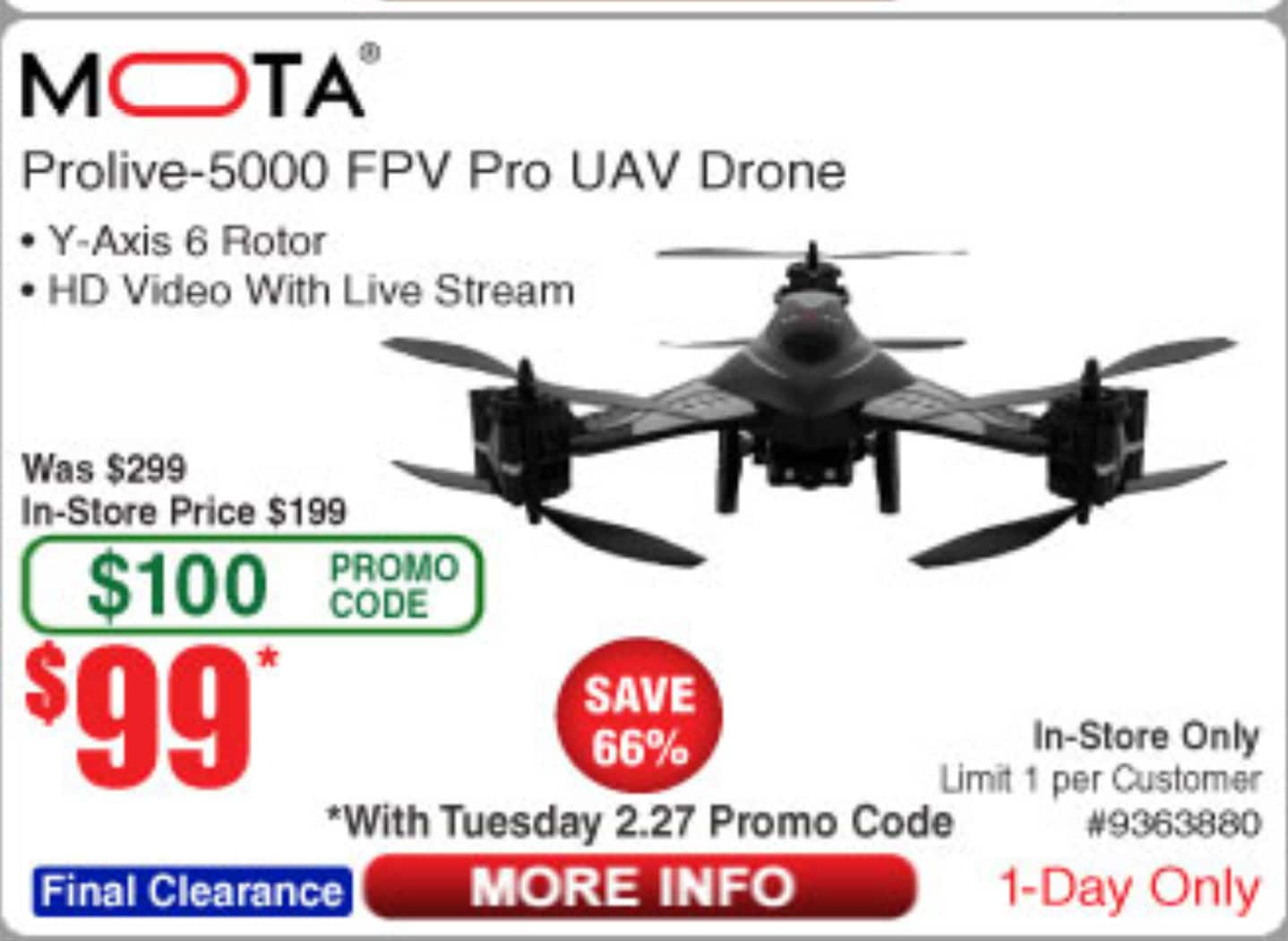 Mota prolive 5000 Drone 99$ 1 Day only be with promo code $99