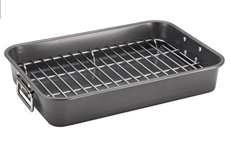Farberware Nonstick Bakeware 11-Inch x 15-Inch Roaster with Flat Rack, Gray @ Amazon - only $14.93