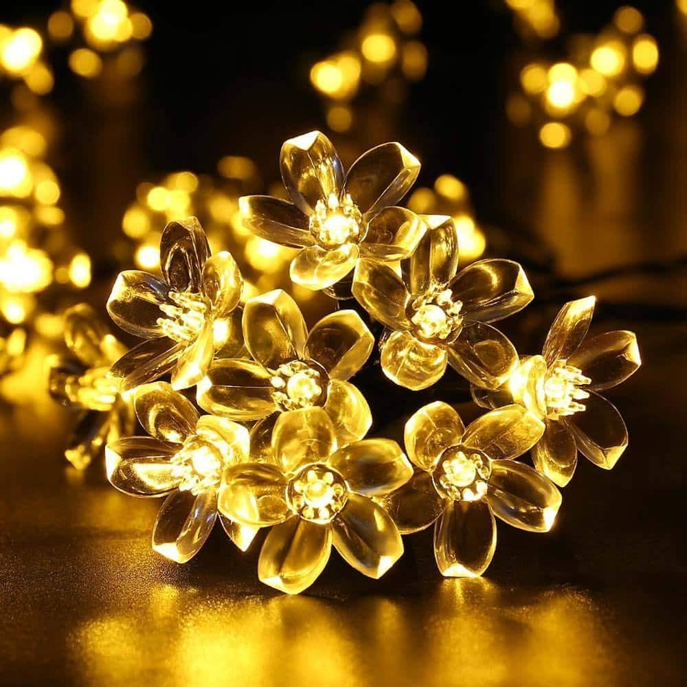 Icicle 23ft Solar String Lights, 50 Cherry Blossom LED Lighting Decoration--$3.99