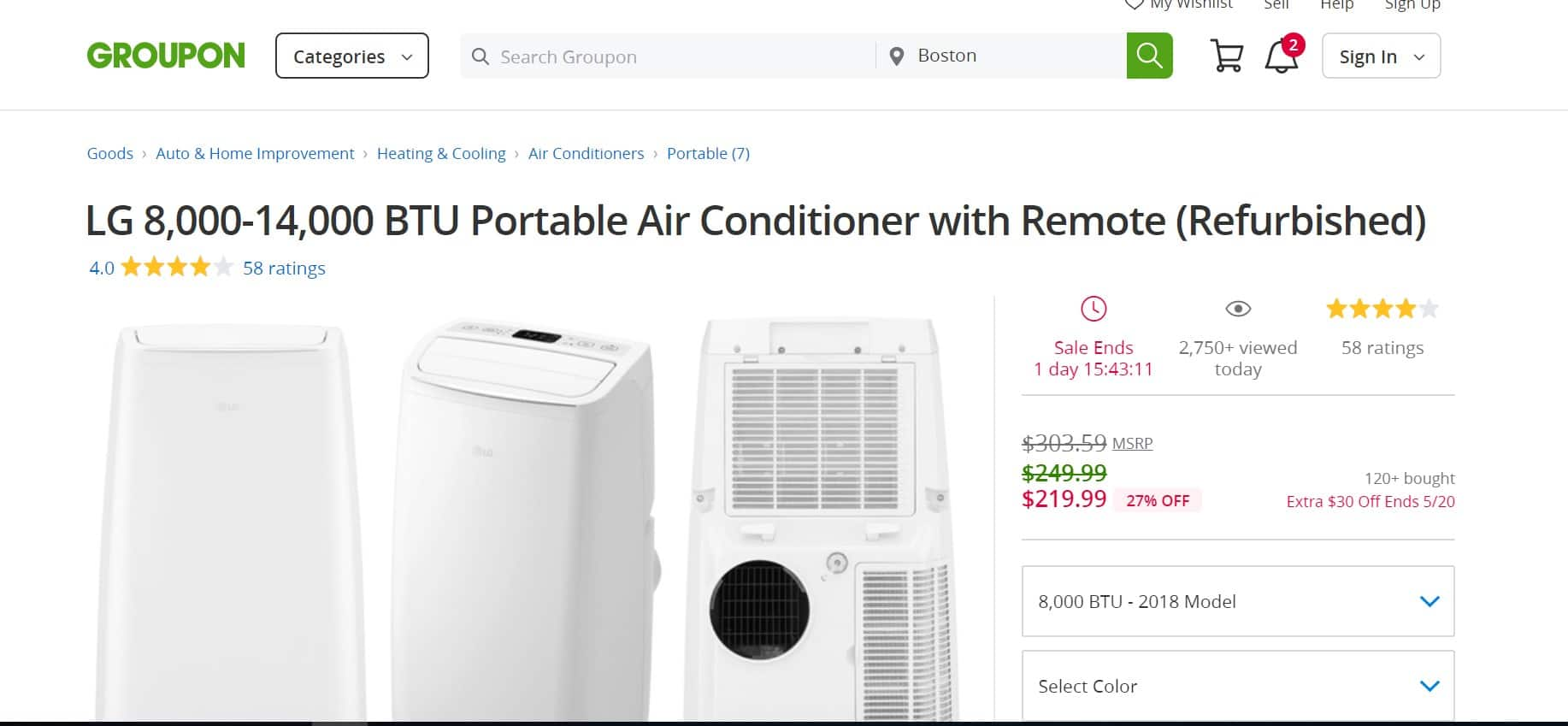 LG 8,000-14,000 BTU Portable Air Conditioner with Remote (Refurbished) $219.99