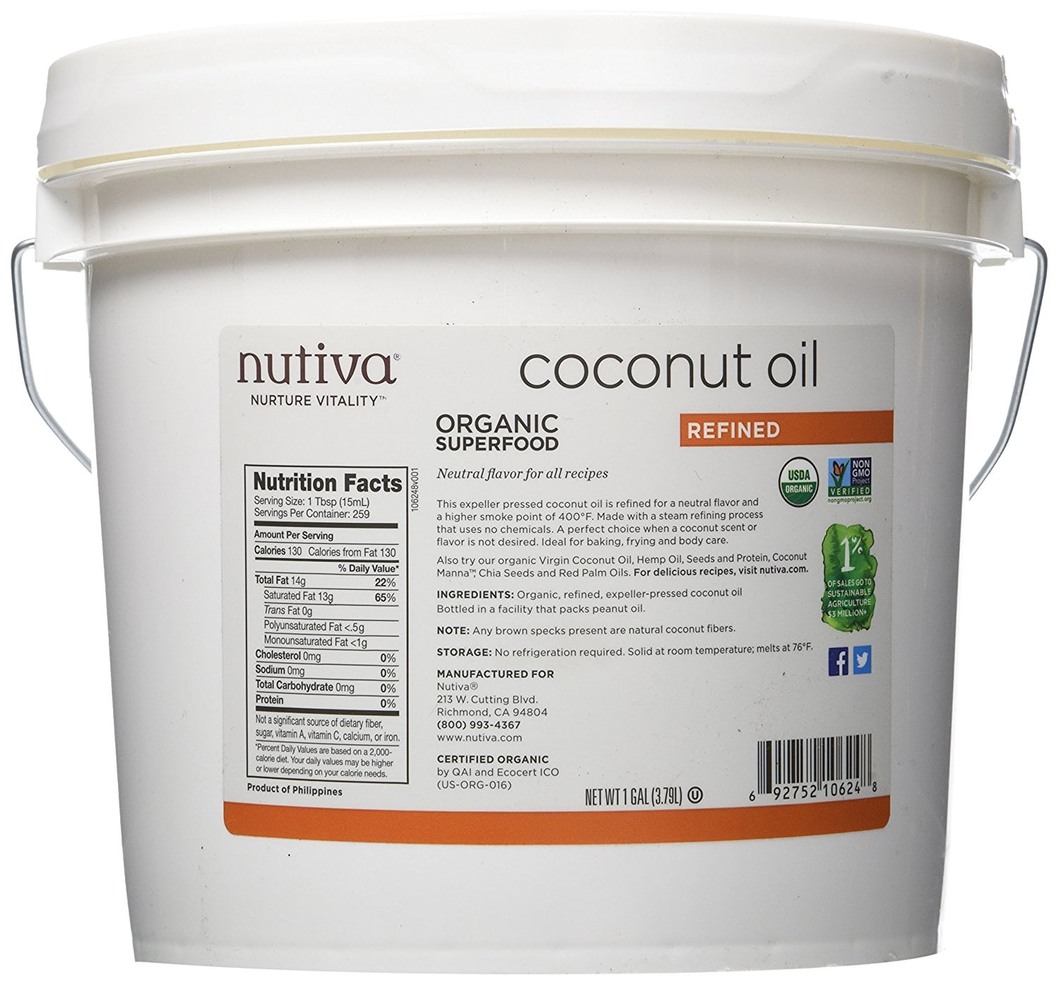 1 Gallon Nutiva Organic Refined Coconut Oil $18.79 FS for prime members