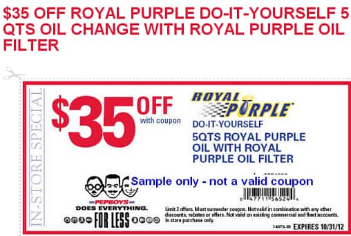5 QT Royal Purple Oil w/ Royal Purple Filter $30.94 +tax AC