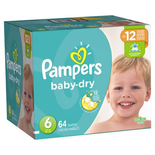 Pampers Baby Dry Diapers Size 6 $18.19 @ Walgreens online (64 count) with 30% off cyber sale and $4 clipped online manufacturer coupon $18.18