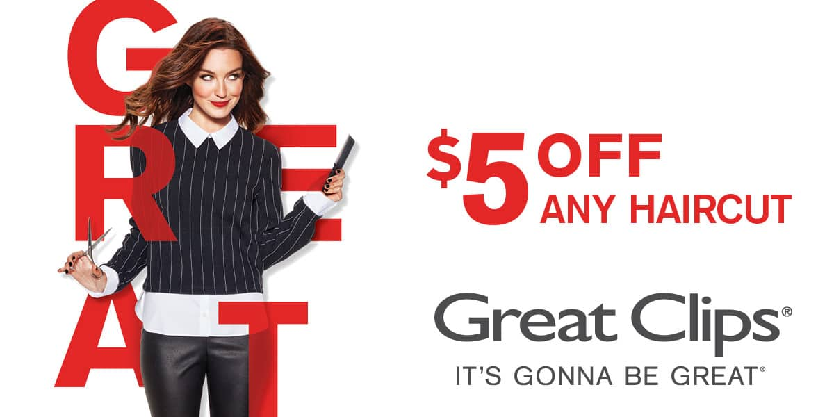 Great Clips Discount  ($5.00) on any haircut at participating locations