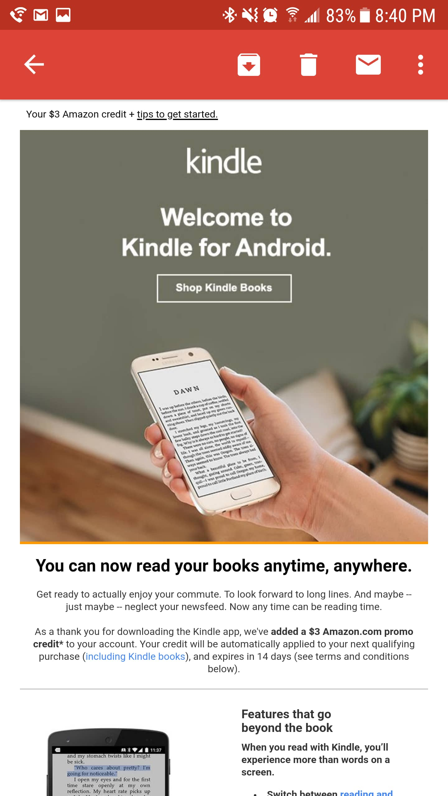 Free $3 Amazon credit for downloading Amazon Kindle app