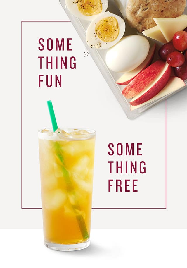 """YMMV Starbucks email. """"I'll have a free drink, please"""" . Purchase any drink or food item + earn a free drink for next time $1"""
