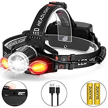 Rechargeable LED Headlamp IP65 Water-Resistant 18650 Lithium-ion battery Include $12.99