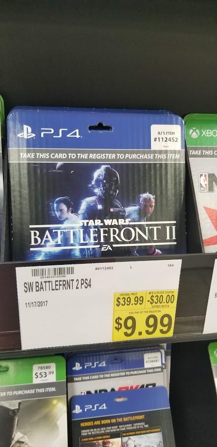 Star Wars: Battlefront II PS4 and XBONE $9.99 @ BJS InStore