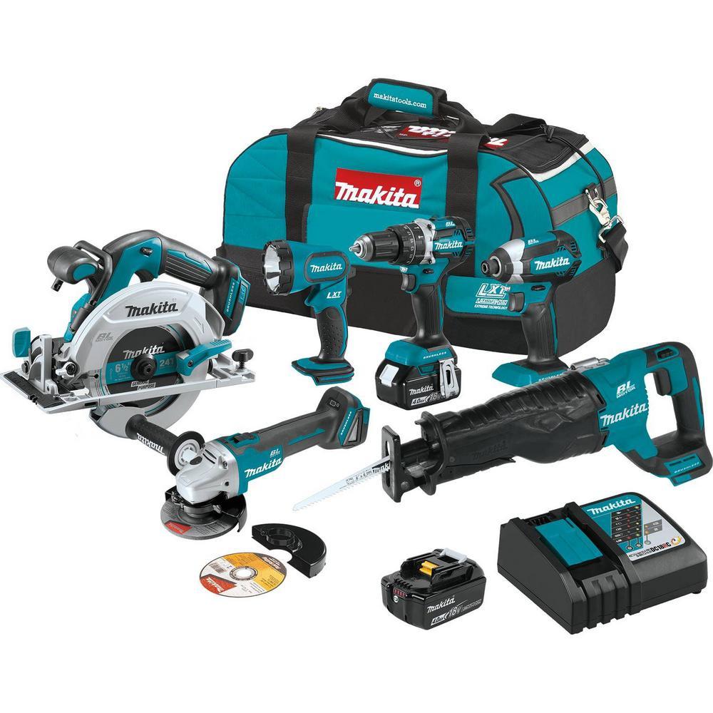 Makita 18-Volt LXT Brushless 6-Piece Kit  (Hammer Driver-Drill, Impact Driver, Recipro Saw, Circular Saw, Grinder, Flashlight) $399.99