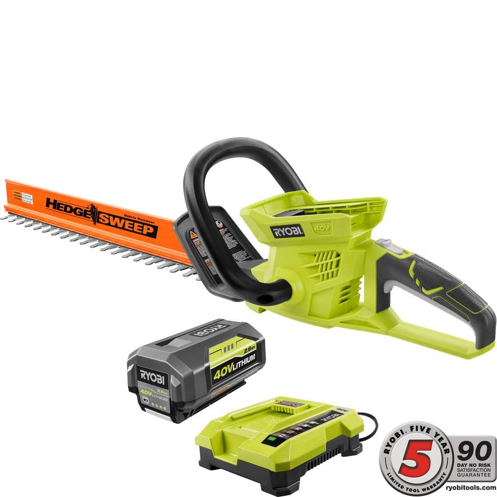 $99 at BRICK STORE. RYOBI 24 in. 40-Volt Lithium-Ion Cordless Hedge Trimmer - 2.6 Ah Battery and Charger Included OR 40v Blower w/battery