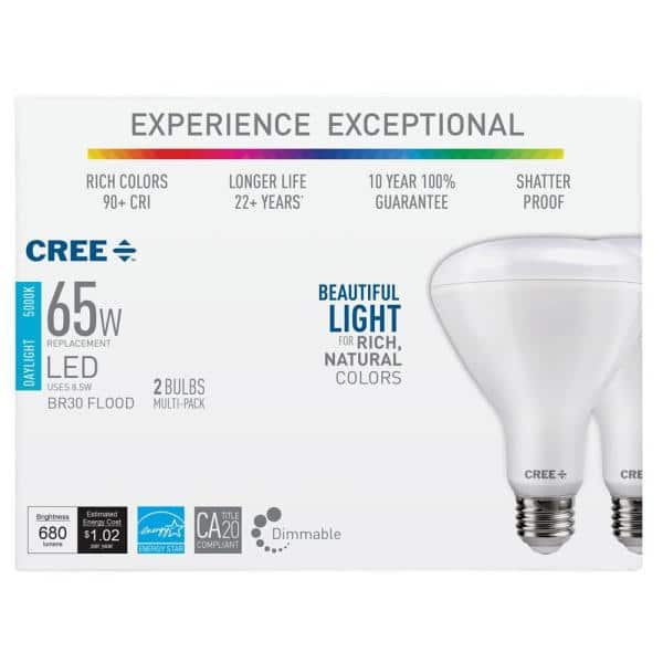 65W (5000K) BR30 Dimmable LED Light Bulb (2-Pack) $4.95