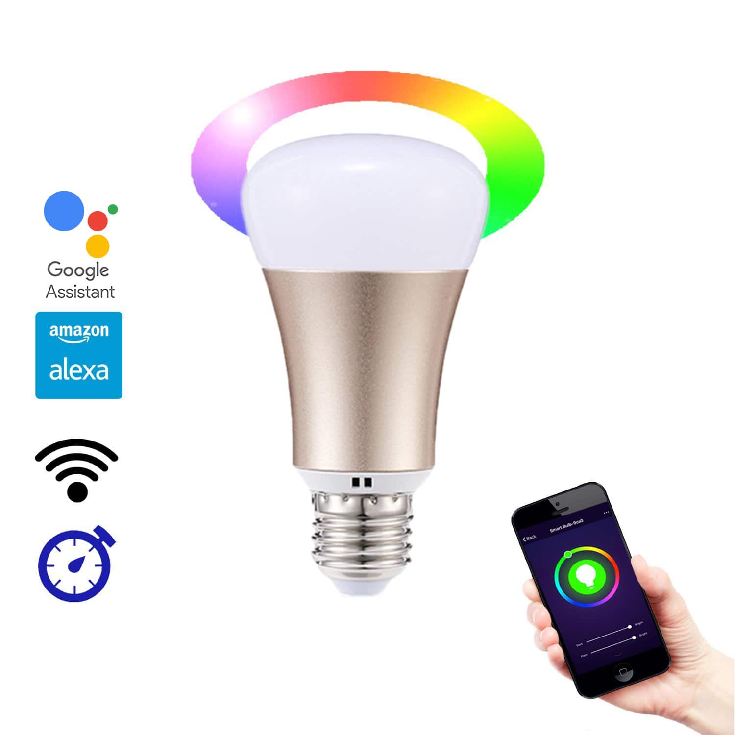 Weanas WiFi Smart LED Light Bulb - Works with Alexa - Smartphone Controlled Multicolored Color Changing Lights - Dimmable Night Light $14.98