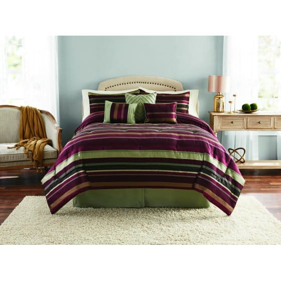 King Size Mainstays Griffith Stripe 7-Piece Bedding Comforter Set, Decorative Pillows Included $18.73