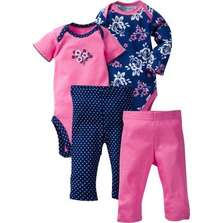 Gerber Newborn Baby Girl Mix N' Match Onesies Bodysuits & Slim Pants, 4pc Set $5.5