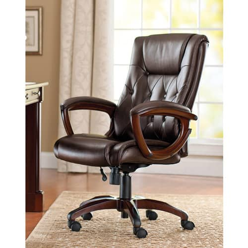Better Homes and Gardens Bonded Leather Executive Office Chair [name: actual_color value: actual_color-brown] $65.43