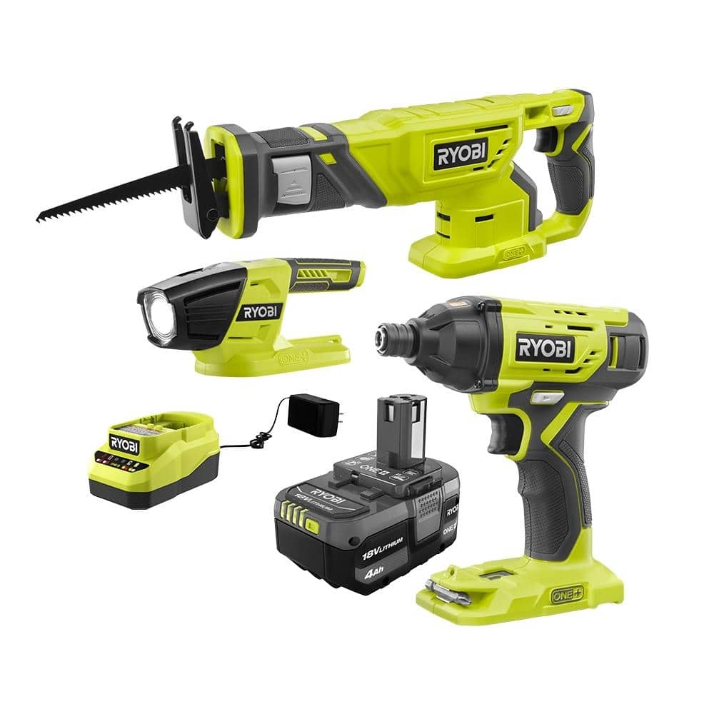 RYOBI ONE+ 18V Cordless Combo Kit (3-Tool) with (1) 4.0 Ah Battery and Charger-PCK105KN - $95