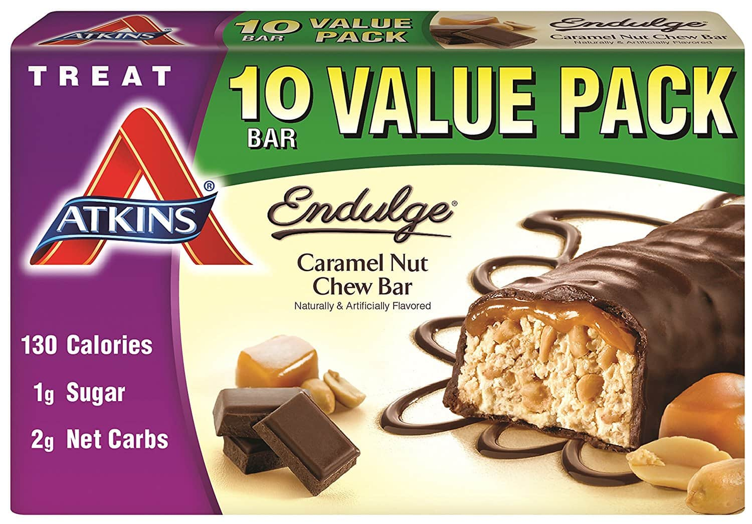 Atkins Endulge Treat, Caramel Nut Chew Bar,Value pack, 10 Bars $7.39 $7.36
