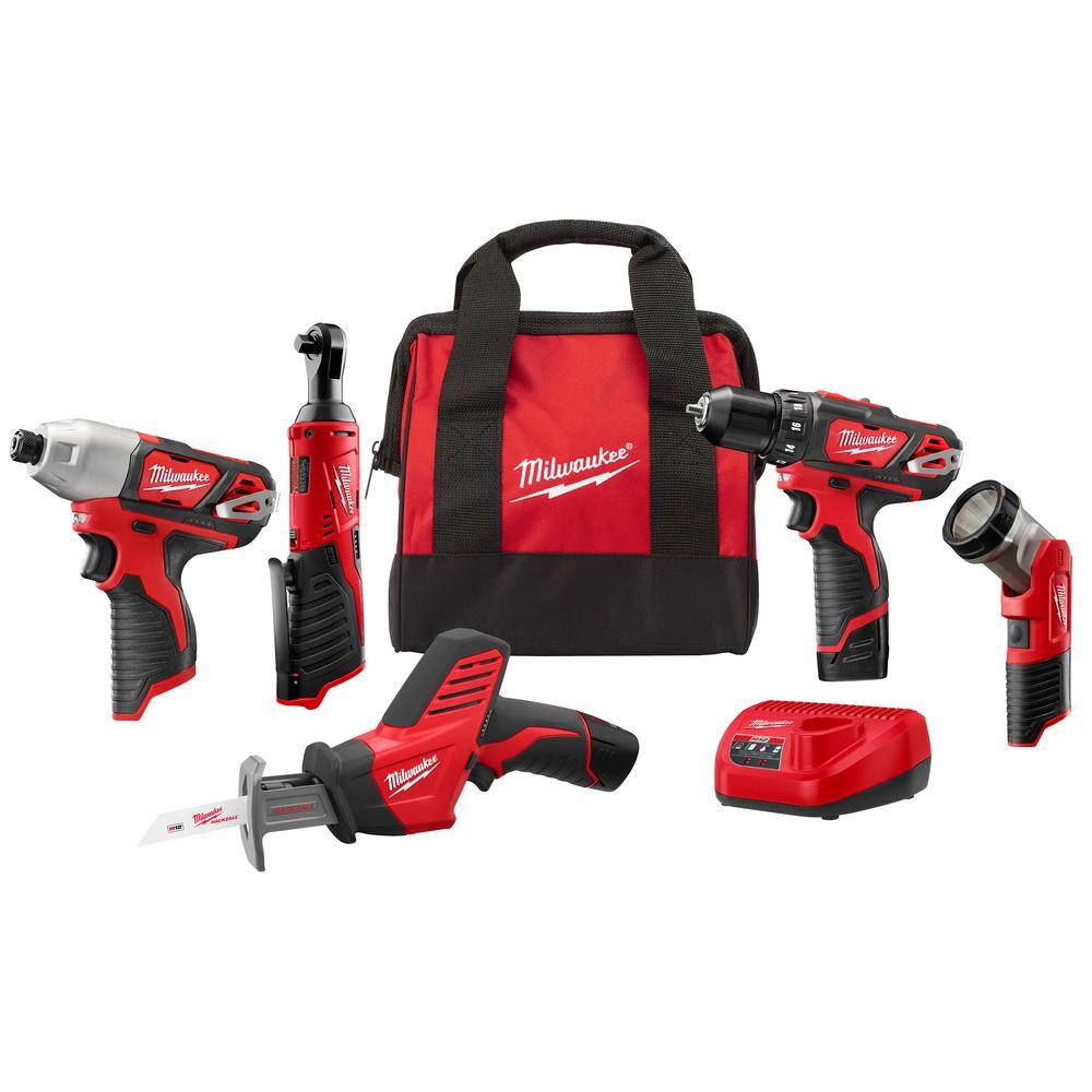 Milwaukee M12 12V Li-Ion 5-Tool Cordless Combo Kit (2498-25) - $199 + FS @ Home Depot $199.99