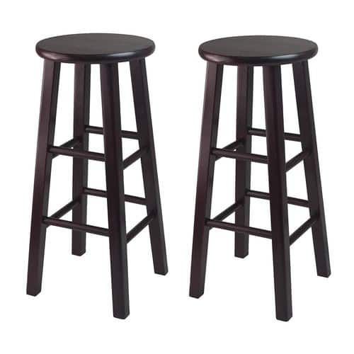 "Winsome Wood Assembled 30"" Bar Stool With Square Legs, Dark Espresso Finish - Set of 2 for $44"