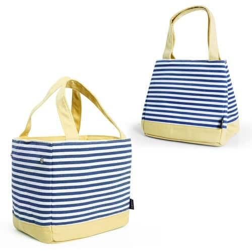 Adjustable/Drawstring Lunch Box, Insulated Thermal Bento Bag for Office/School/Picnic, Naval Stripe, Blue Yellow [Blue Stripe] $6.99