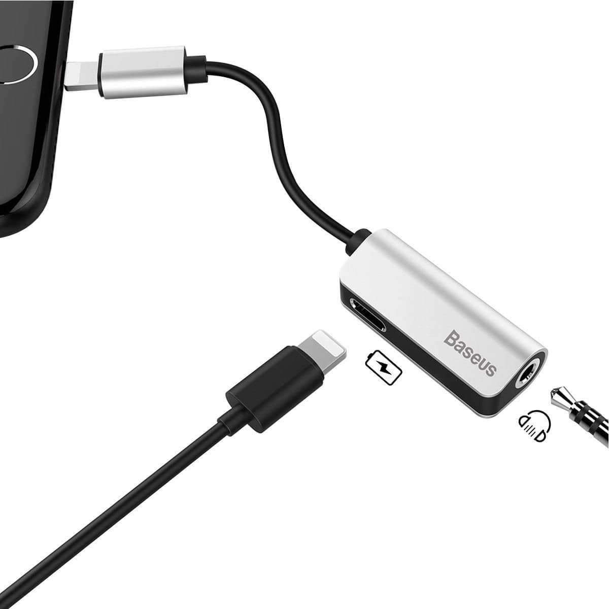 the latest 8e03a d257f Lightning to 3.5mm Headphone Adapter Listen & Charge for iPhone X ...