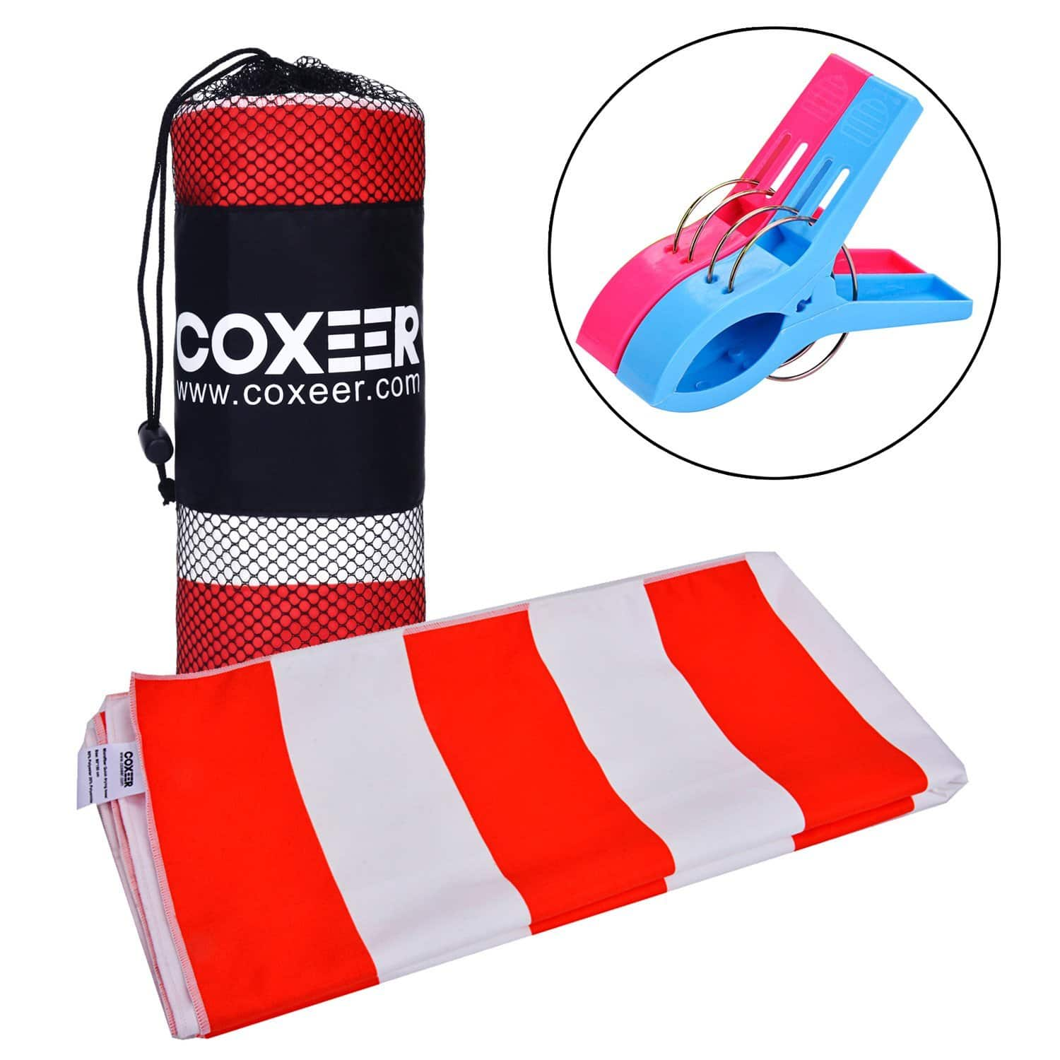 Microfiber Striped Pool Towel Large Beach Towel W/ 2 Clips for $5.98 AC+FS With Prime @ Amazon