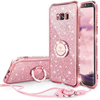 Rose Gold Diamond Rhinestone Bumper case with Ring Kickstand for Samsung Galaxy S8 Plus - $5.97 AC