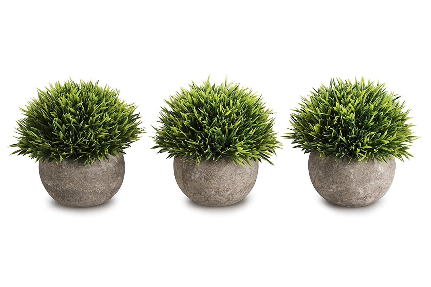 Mini Artificial Plants Plastic Fake Green Grass Topiary Shrubs With Gray Pot For Home Décor – Set of 3 - $15.99 AC