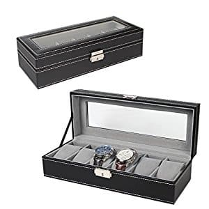 6 Slot Leather Watch Box Display Case with lock - $9.99 AC