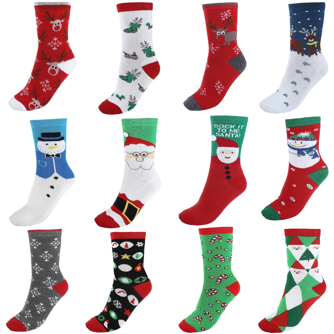 Update  $13.99 for 12Pairs Women's Cute Pattern Colorful Cotton Xmas Crew Socks,Christmas Style Mom