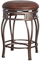 Hillsdale Montello Backless Swivel Bar Stool, Old Steel Finish with Faux Brown Leather (Used Very Good) Prime $32.91