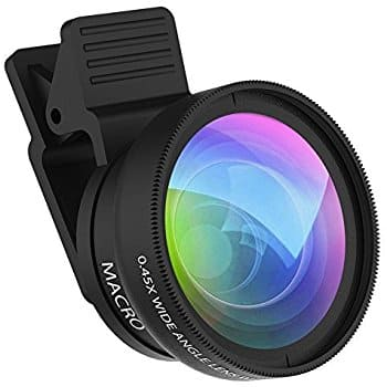 ZOETOUCH 0.45X Super Wide Angle Lens & 12.5X Macro Lens 2 in 1 Professional HD Cell Phone Camera lens Kit $7.99