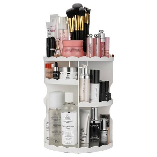 $13.99 Jerrybox 360-Degree Rotating Makeup Organizer, Adjustable Multi-Function Cosmetic Storage Unit White