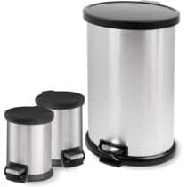 Mainstays 3-Piece Stainless Steel 1.3 Gal and 8 Gal Waste Can Combo for $19.88