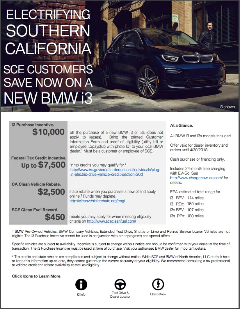 $10,000 Off a BMW i3 EV on top of other credits for Southern California Edison - SCE residential customers