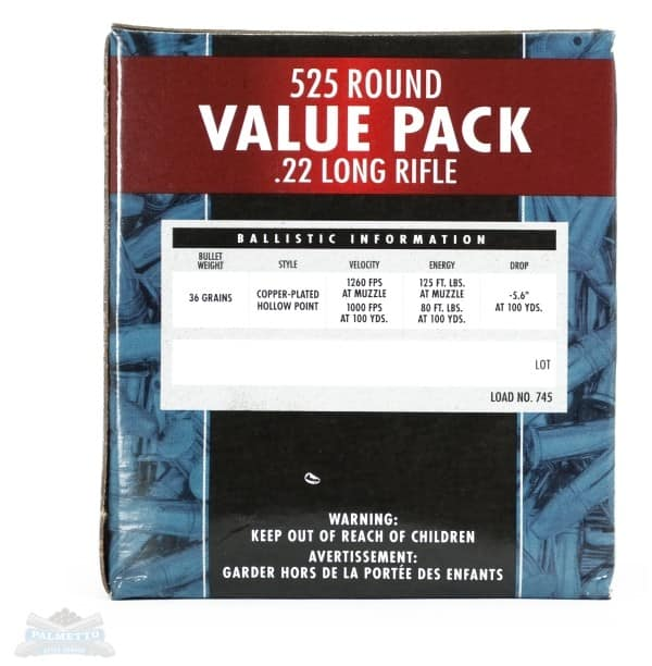 ammo Federal .22LR 36gr Copper Plated HP 525rd Value Pack 745 $20 +SH @ Palmetto State Armory